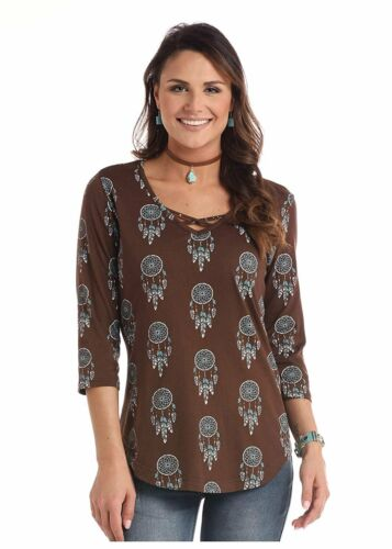 Brown Panhandle White Label Ladies 3//4 Sleeve Dreamcatcher Print Knit Top