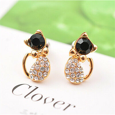 Fashion Women Lady Chic Rhinestone Cute Cat Black Crystal Ear Stud Earring