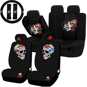 Image Is Loading 22PC Till Death Skull Red Rose Seat Covers