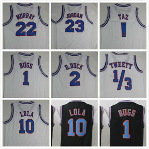 Space-Jam-Tune-Squad-Basketball-Jersey-Black-White-All-Numbers-All-Stitched