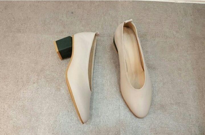 popolare Handmade] Handmade] Handmade] donna Leather Mid Pumps Square Point Toe Matters Classic Block Heel  grande vendita