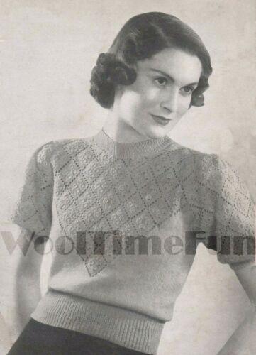 Vintage Knitting Pattern Lady/'s 1930s//40s Jumper Short /& Long Sleeves.