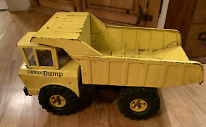 Vintage-Tonka-1960-039-s-Mighty-Dump-Truck-Pressed-Steel-Yellow-Original-Classic