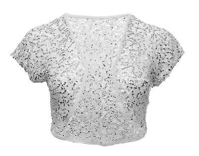 Womens New Cream Lace Bolero Sequin Cap Sleeve Crop Cardi Top Ladies Plus Size