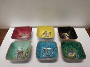Ciotole In Ceramica.Dettagli Su 6 Coppe Coppette Ciotole Ceramica Amalfi Vittorio Acabbo Fatte E Dipinte A Mano