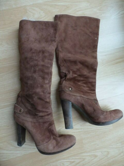 Italian Designer Vic Matie Brown Suede  Boots Pull On size 38.5 EUR 5.5 UK
