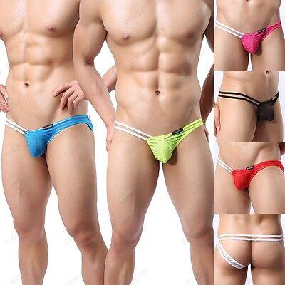 Men's Gauze Sheer Single Side Thongs Underwear Brand Striped Nightwear M L XL