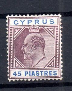 Cyprus-KEVII-1904-10-45pi-mint-MNH-SG71-WS16731