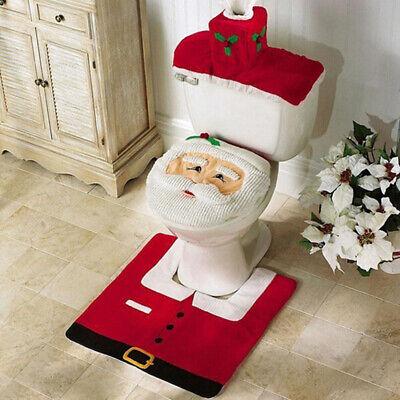 Merry Christmas Toilet Seat /&Cover Santa Claus Bathroom Mat Christmas Home Decor