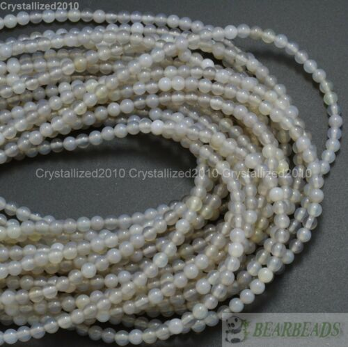 """Natural AAA Gray Agate Gemstone Round Spacer Loose Beads 4mm 6mm 8mm 10mm 15.5/"""""""