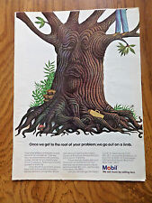 1973 Mobil Gas Ad Once we get to the Root of your Problem We go out on a Limb