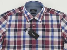 Men's HUGO BOSS White Blue Red Plaid LUCAS Shirt 2XL XXL NWT NEW $145+