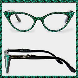 3c9ef104606e4 Image is loading Crystal-Rhinestone-Cat-Eyes-Reading-Glasses-Optical-Frame-