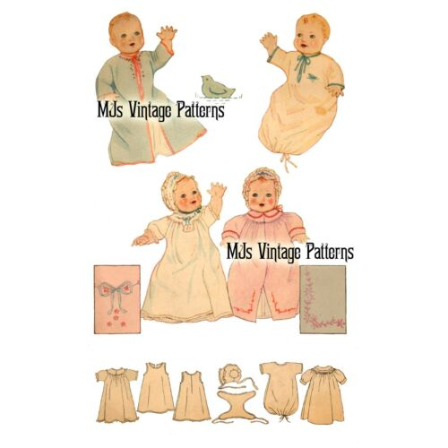 """Vintage 1930s Baby Doll Clothes Pattern ~ 13/"""" 14/"""" for Patsy Composition"""