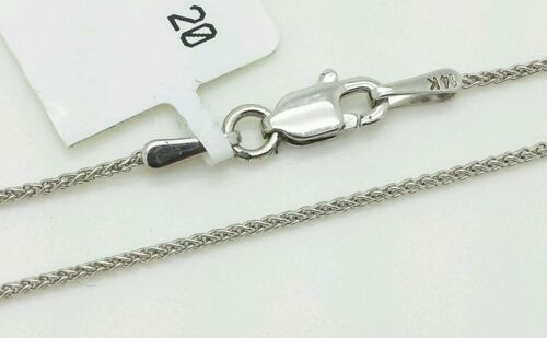 """14k White Gold Round Wheat Necklace Pendant Chain 18/"""" 1.0mm"""