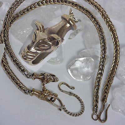 deftige Bronzekette L:55 Wolfskopf mit Verbinder Handgeflochten Wikingerkette