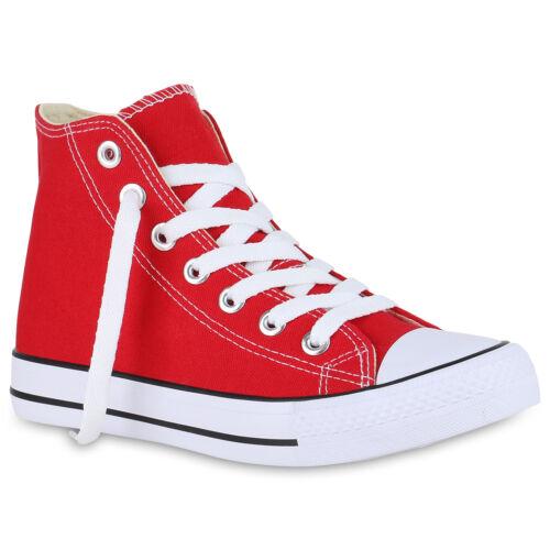 Damen Sneaker High Basic Canvas Turnschuhe Schnürer Freizeitschuhe 826091 Trendy