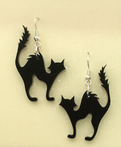 Acrylic-Earrings-Scaredy-Cats-Black-Cat-Laser-Cut-Perfect-for-Halloween