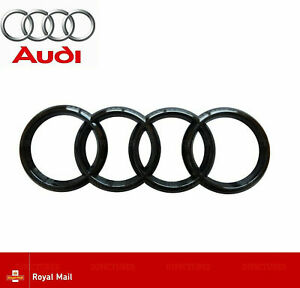 Audi-Glanz-Schwarz-Heck-hinten-Boot-Abzeichen-Ringe-a1-a3-a4-a5-a6-rs3-rs4-s3-s4-193mm