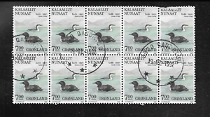 GREENLAND-ISSUE-1988-USED-COMMEMORATIVE-BLOCK-OF-10-STAMPS-BIRDS-GAVIA-IMMER