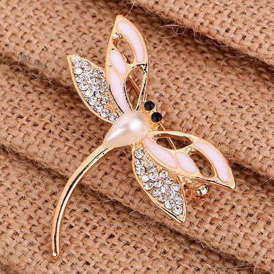 Fashion White Rhinestone Faux Pearl Crystal Golden Alloy Dragonfly Brooch Pin