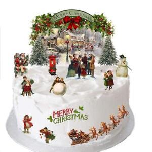 Christmas Vintage Victorian Cake Scene Edible Premium Wafer Paper Cake Topper