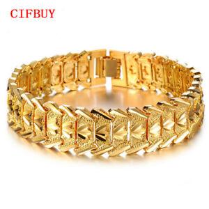18K-Gold-Uberzogene-Kette-Armbander-Maenner-Damen-Schmuck-Vintage-Armreif-Armband