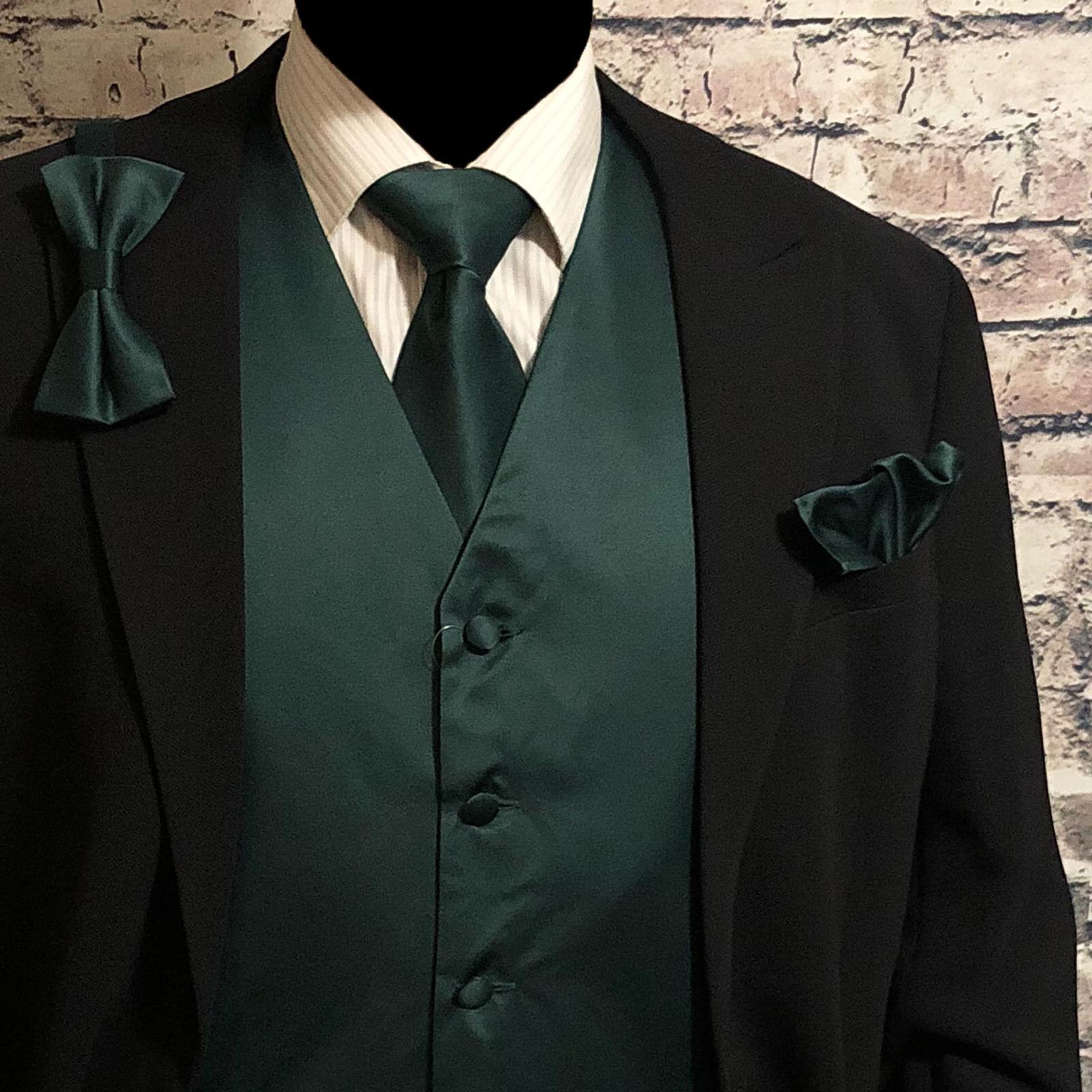 Dark Green Tuxedo Suit Vest Waistcoat & Neck tie & Bow tie & Hanky 4 in 1 Set