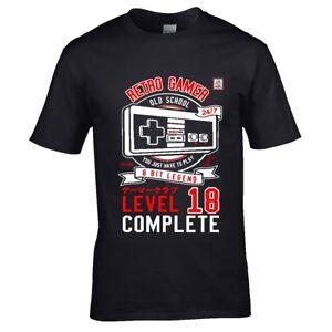18a52b7de98b Fun Gaming Retro Gamer Level 18 Complete for 18th Birthday mens t ...