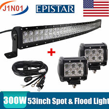 """52""""IN 300W LED LIGHT BAR CURVED EPISTAR SPOT&FLOOD COMBO OFFROAD LAMP 18W Wiring"""