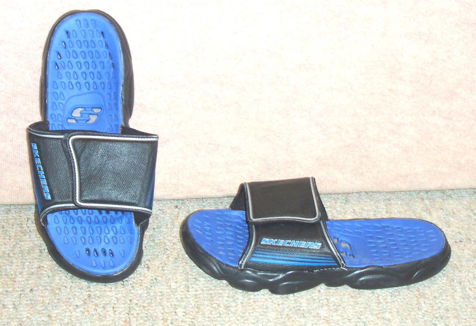 Men's black / blue sz SKECHERS slip on sandals , sz blue 12 c41832