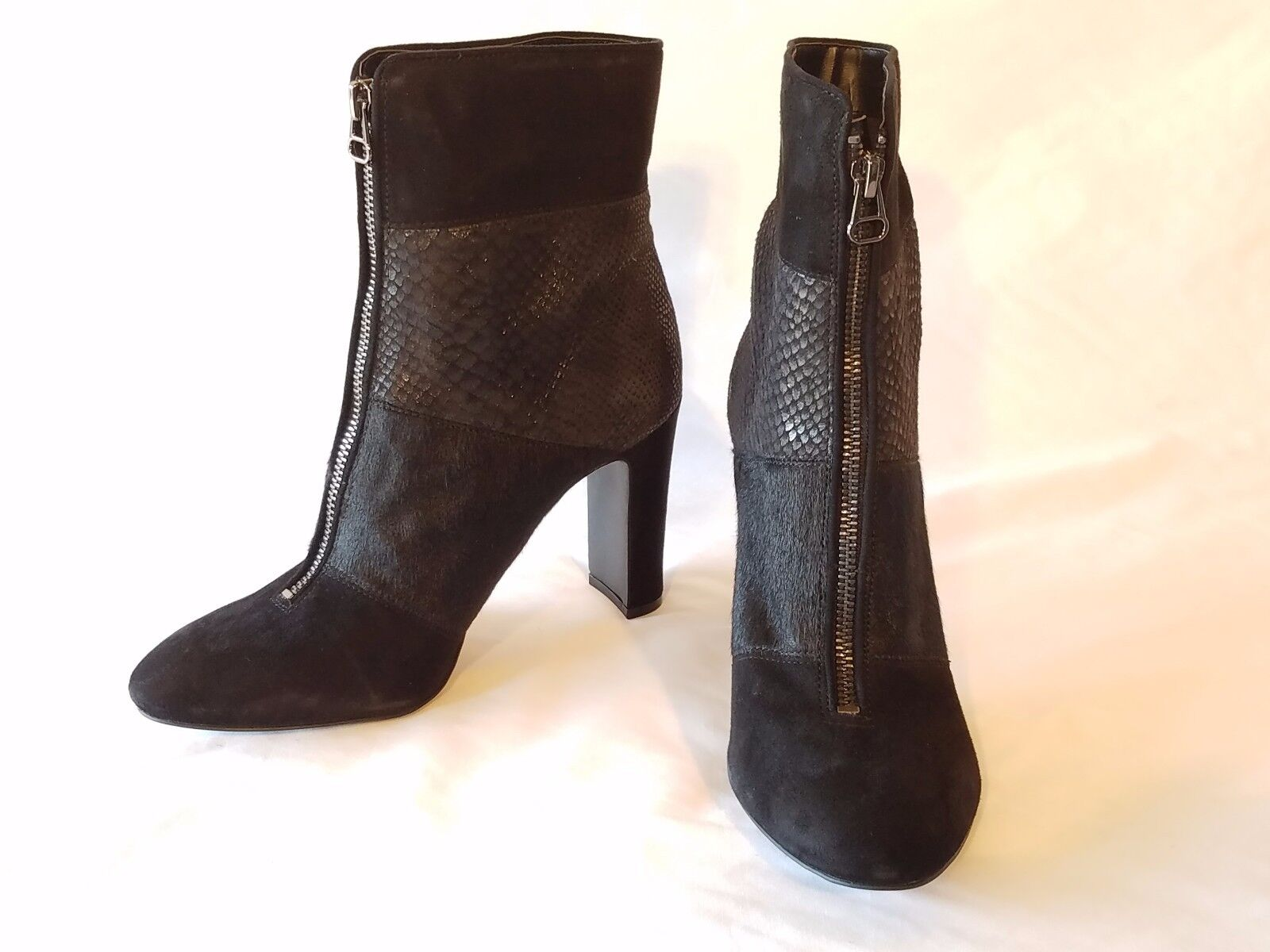 """Anne Klein Black Leather & Suede Almond Toe Ankle Bootie Size 9M 3.75"""" Block Hee"""