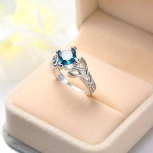 Fashion-Square-Cut-London-Blue-Topaz-Gemstone-Silver-Woman-Ring-Size-6-10