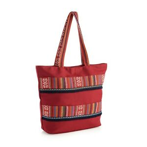 RED-FRILL-TOTE-SHOPPING-BEACH-SHOULDER-BAG-ZIPPED-TOP-FULLY-LINED