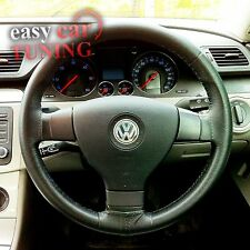 FOR VW PASSAT B6 2005-2011 BLACK REAL GENUINE LEATHER STEERING WHEEL COVER FITS