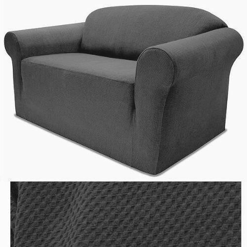 3 Pcs Slipcovers Set,Couch//Sofa+Loveseat+Chair Covers GRAY STRETCH FORM FIT