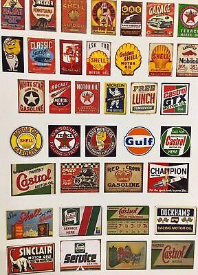 Aspirante 1/18 Diorama Retrò Olio Logo Foglio 2 E La Pubblicità Poster Garage 0010-mostra Il Titolo Originale Imballaggio Di Marca Nominata