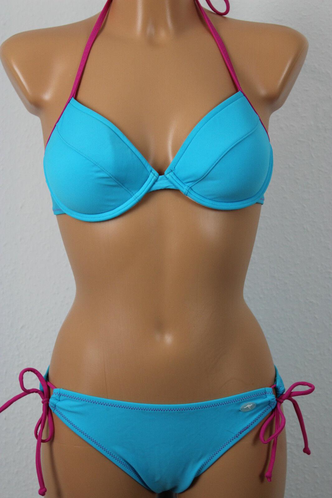 Kangaroos Sexy Push-Up Neck Underwired Bikini Size 34 Cup An AQUA NEW A11-053