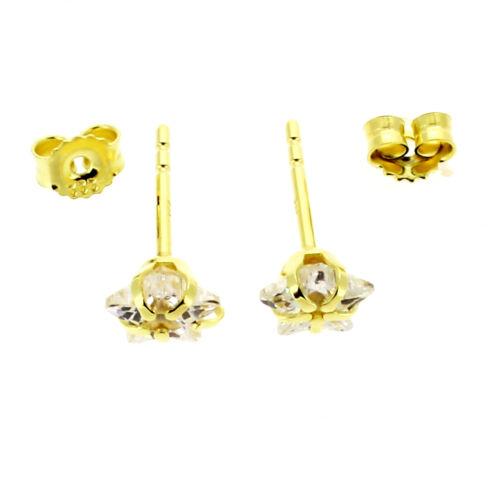 Las chicas señora circonita estrella pendientes par de niños aretes real de oro 585 14 kt