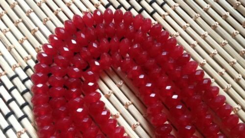 "AAA 5x8mm Natural Facetado Brasil Rojo Ruby redonda suelta granos 15/"" de piedras preciosas"
