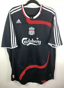 huge discount 24082 eed58 Details about LIVERPOOL FC Football Shirt Size XL CARLSBERG EURO 2007-2008  BLACK RED WHITE