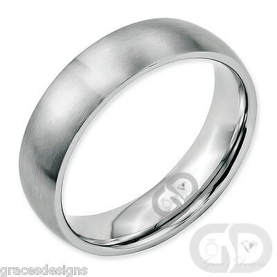 Mens Classic 6mm Traditional Wedding Band Stainless Steel Brushed Ring Size 5-13