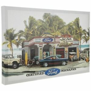 Ford Dream Garage Framed Canvas Sign by Laid Back * Mustang, Bronco, Woody, More