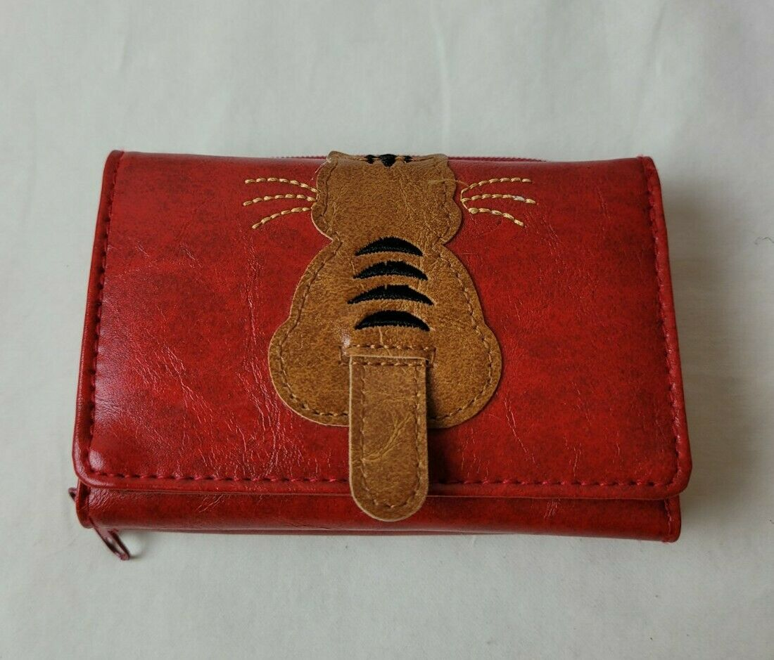 Lavishy Red with Cat & Fish Small Vegan Leather Tri-Fold Wallet New NWOT