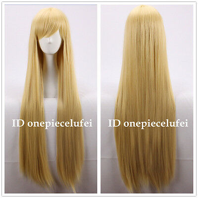 Tangled Rapunzel long blonde cosplay straight full hair wig 100cm +a wig cap