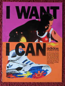1990 Print Ad ADIDAS TORSION Tennis