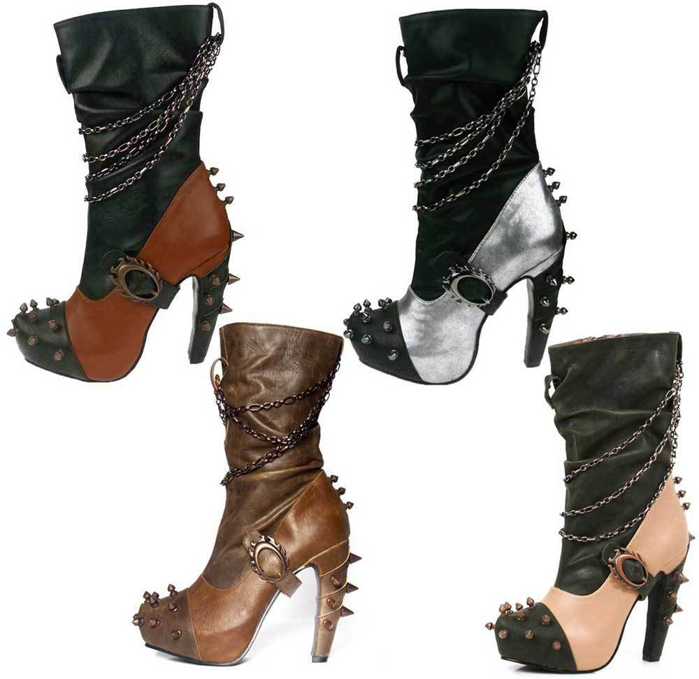 Hades FALINE Black-Brown-Silver-Tan Two Tone Slouch Boots Spikes Chains 5  Heels
