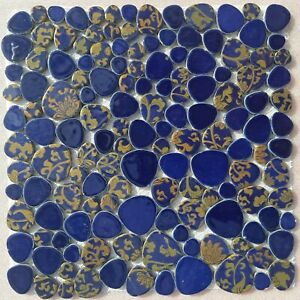 blue and gold mosaic indoor or outdoor tiles pebble floral