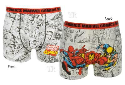 colour characters on the back  Mens Boxer Shorts Marvel Monochrome comic pages