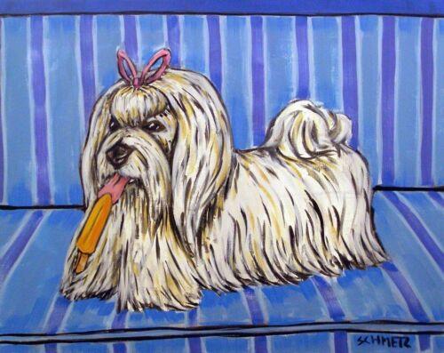 Maltese dog art  8.5x11 glossy photo PRINT popsicle